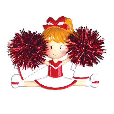 Cheerleader Red Personalized Christmas Ornament DO-IT-YOURSELF ()
