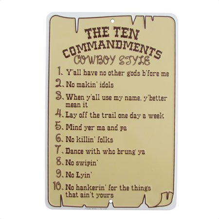 Ten Commandments Cowboy Style Tin Sign Funny Religious Christian Home Wall Decor