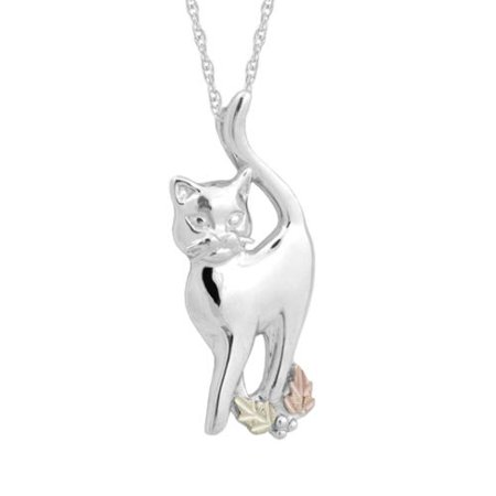 Black Hills Gold on Silver Cat Pendant Necklace