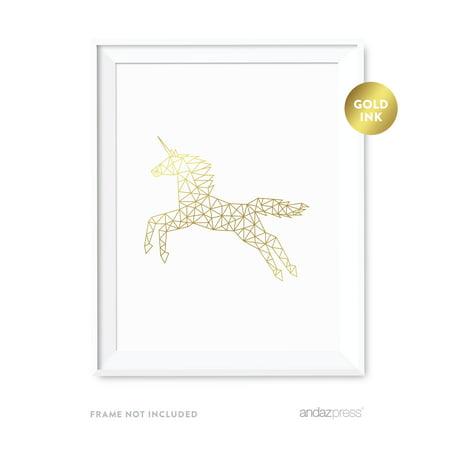 Unicorn Geometric Animal Origami Wall Art Metallic Gold Ink Print