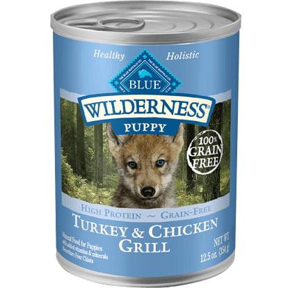 Blue Buffalo Wilderness High Protein Grain Free, Natural Puppy Wet Dog Food, Turkey & Chicken Grill, 12.5-oz cans