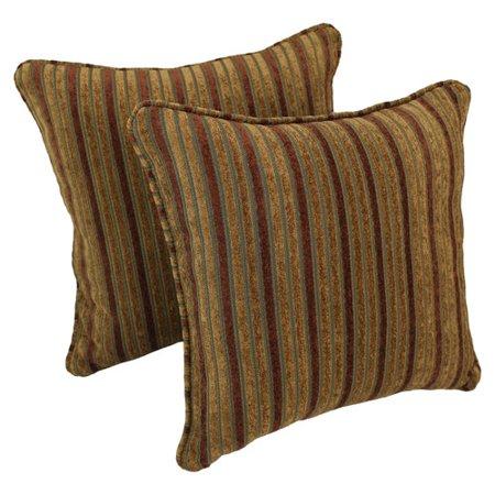 Blazing Needles Corded Autumn Stripes Throw Pillow (Set of 2) Autumn Blaze Pear