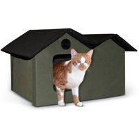 K&H Pet Products Extra Wide , Indoor or Outdoor , Heated or Unheated , Cat and Kitty House , Olive/Red , 26-in