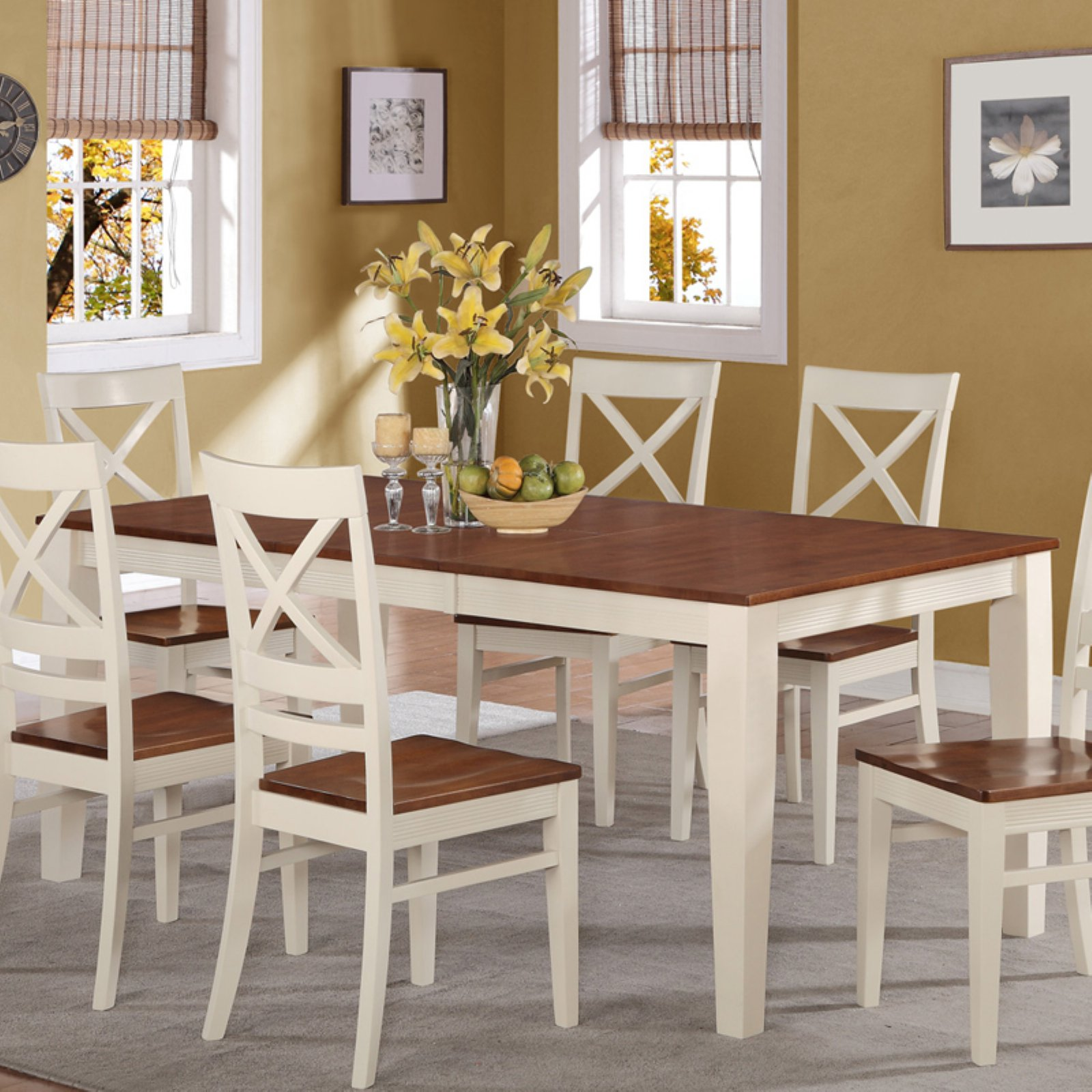 East West Furniture Quincy 60-78 Inch Rectangular Dining Table