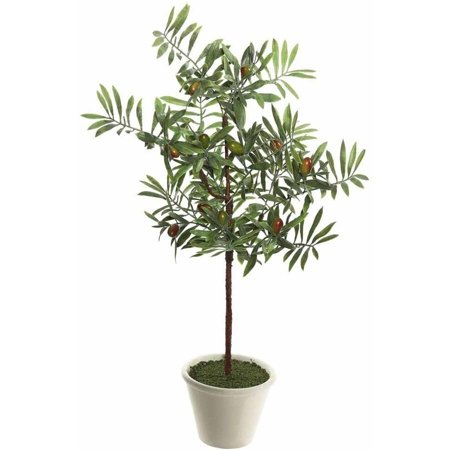 "Vickerman 27"" Artificial Green Olive Hill Tree Potted in a Round White Container"