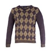 Pal Zileri Men's Argyle V-Neck Sweater IT 50 Dark Purple & Tan