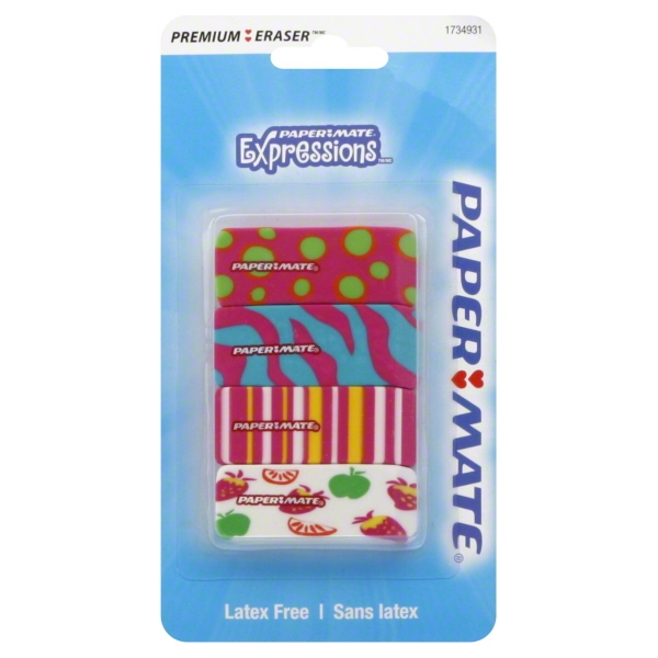 Paper Mate Pink Expressions Erasers, 4-Count by Newell Rubbermaid