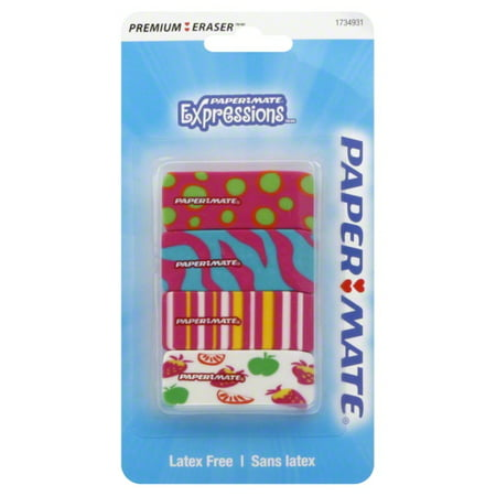 (4 Pack) Paper Mate Pink Expressions Erasers, 4-Count