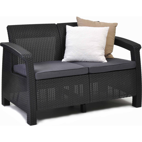 Keter Corfu Love Seat All Weather Outdoor Furniture w/ Cushions, Charcoal