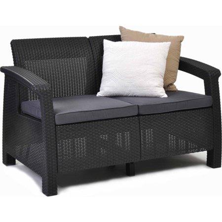 Keter Corfu Love Seat All Weather Outdoor Furniture w/ Cushi