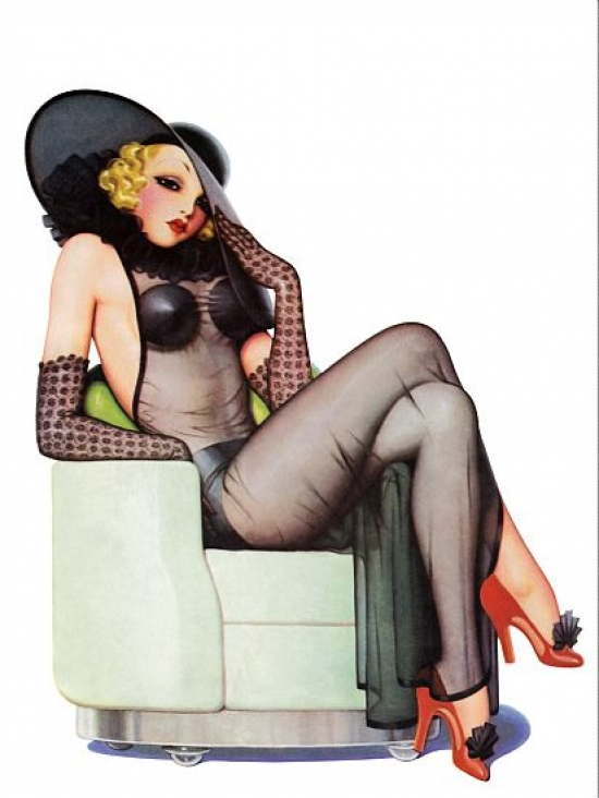 18x24 Vintage Reproduction Pinup Poster Blond see through negligee