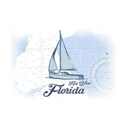 Key West, Florida - Sailboat - Blue - Coastal Icon Print Wall Art By Lantern Press ()
