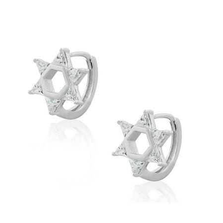 791596b71 My Daily Styles - 925 Sterling Silver White Clear CZ Jewish Star of David  Hoop Huggie Earrings - Walmart.com