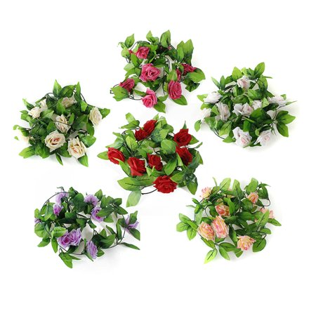 Artificial Rose Garlands, Silk Fake Rose Flowers Green Leaves Vine for Home Hotel Office Wedding Party Garden Craft Art Decor - Dark Red Face
