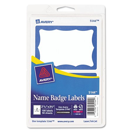 Avery Printable Self Adhesive Name Badges  2 1 3 X 3 3 8  Blue Border  100 Pack