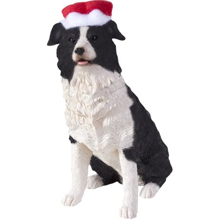 Sandicast Sitting Border Collie with Santa's Hat Christmas Dog - Collie Christmas Tree
