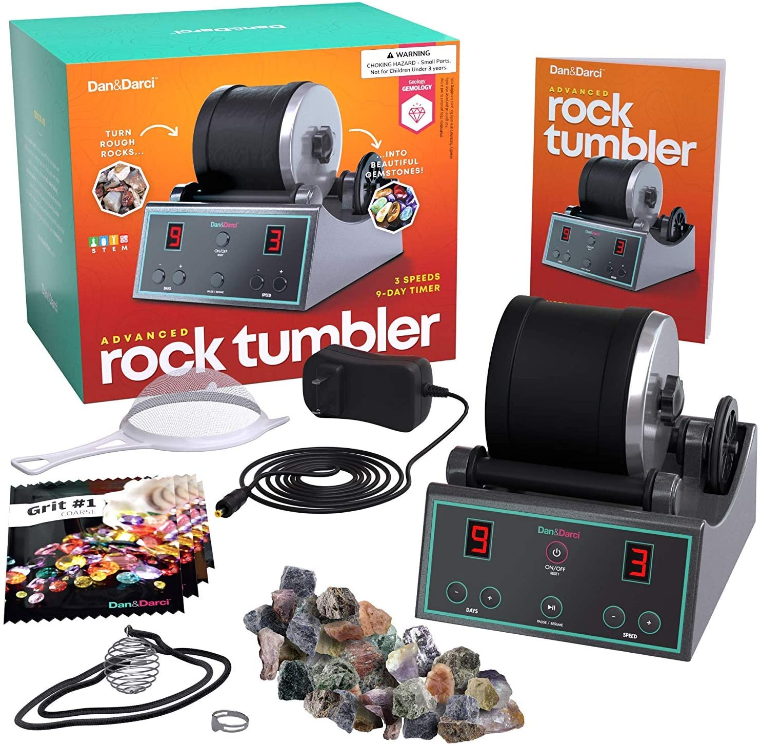 Turn Rough Rocks into Beautiful Gems with Digital 9-day timer and 3-speed settings Advanced Professional Rock Tumbler Kit Great Science Kit /& STEM Gift for all ages Study Geology /& Mineralogy