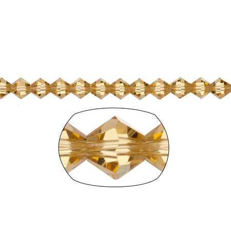Topaz Faceted Bicone (Bicone Crystal Beads Light Topaz Faceted xilion Crystal For Jewelry Making mm 74Cnt )