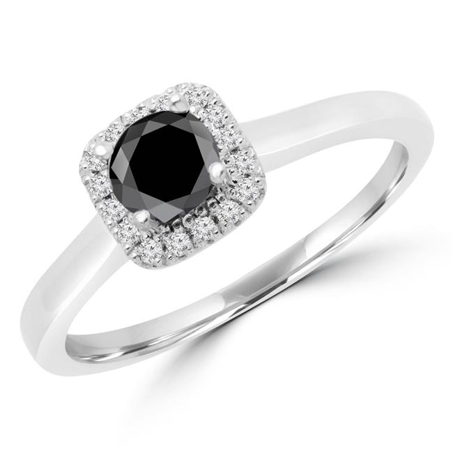 Majesty Diamonds MD170112-7.5 0.5 CTW Round Black Diamond Halo Engagement Ring in 14K White Gold with Accents - 7.5 - image 1 of 1