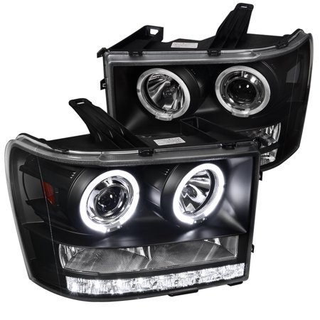 Spec-D Tuning Piano 2007-2012 Sierra 1500 Hd Hybrid Led Dual Halo Projector Headlight 2007 2008 2009 2010 2011 2012 (Left + Right)