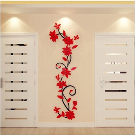 (3D Acrylic Wall Sticker, Outgeek Romantic Flowers Plant Wall Stickers Art TV Wall Decor Sticker for Living Room Bedroom Bathroom Home Restaurant)