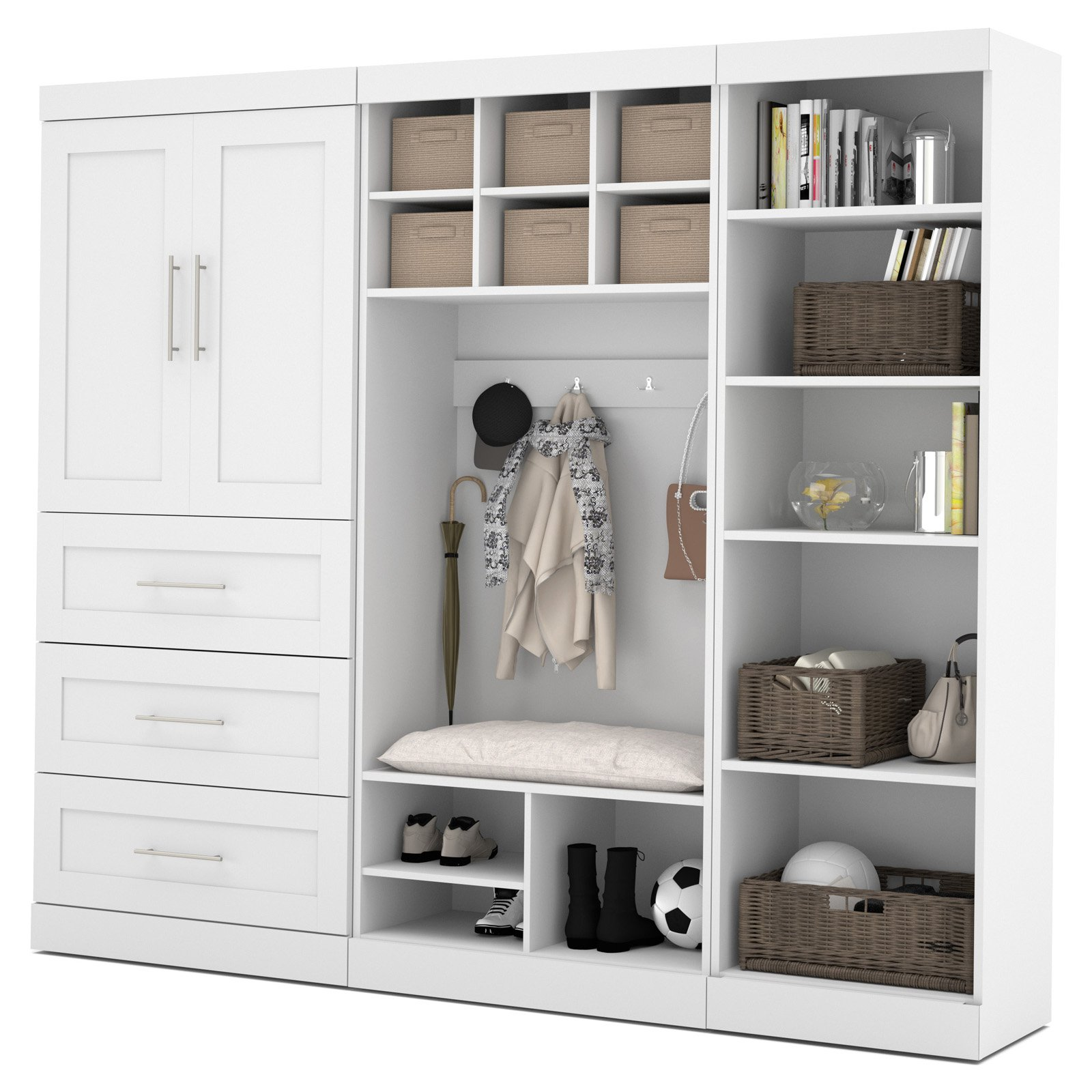 "Pur by Bestar 97"" Mudroom Storage kit in White"