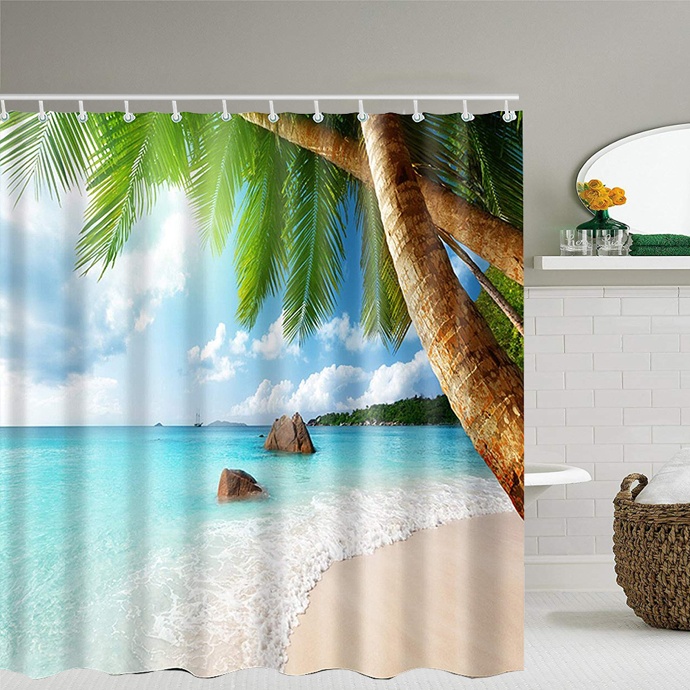Bathroom Washroom Tropical Beach Palm Trees Shower Curtain w// 12 Hooks
