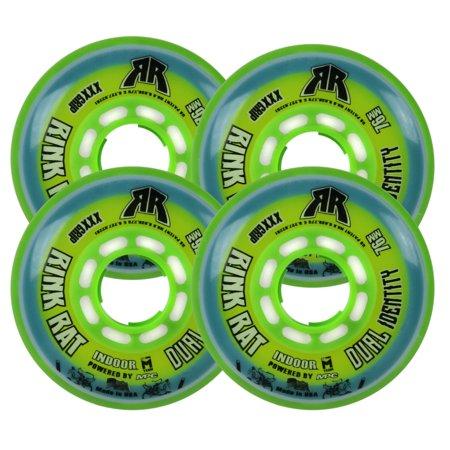 RINK RAT Wheels 76mm 76a DUAL IDENTITY 4-Pack Blue/Green Inline Indoor Hockey (76a Wheels)