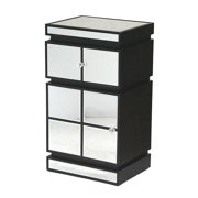 Heather Ann Creations W192112-BLK Pierre 1-Drawer & 1-Door Accent Cabinet with Mirror Accents - Black