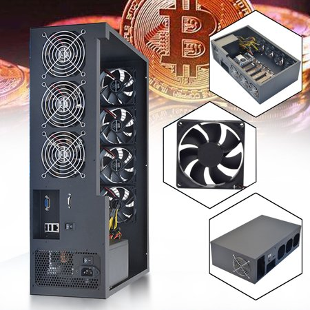 Server Case Pack (6 GPU Crypto Coin Open Air Mining Server Frame Rig Graphics Case with 7 Fans Optional Computer Mining Case Frame Server)
