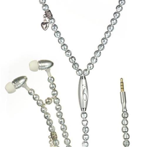 DreamWireless IP-HFIPFS391 Universal Necklace Handsfree 3. 5 Mm With Mic Silver Pearl