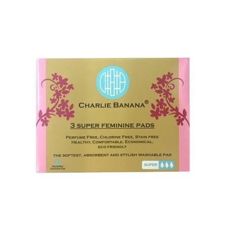 Charlie Banana Cloth Feminine Pads, Size Super, Peony Blossom, 3 Count ()