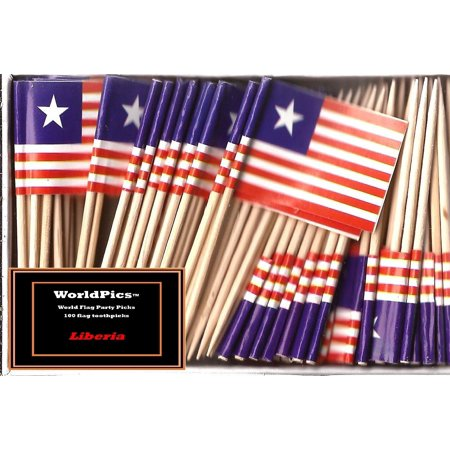 One Box Liberia Toothpick Flags, 100 Small Liberian Cupcake Flag Toothpicks or Cocktail Picks