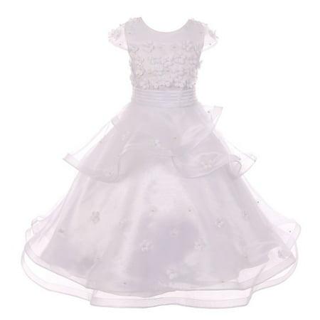a19fdea5952 Girls White Pearl Flower Adorned Multi Layer Flower Girl Communion Dress