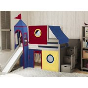 JACKPOT! Castle Low Loft Stairway Bed with Slide Red & Blue Tent and Tower Loft Bed Twin Gray