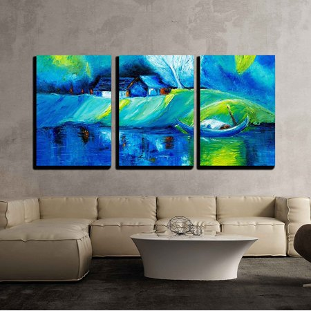 wall26 - 3 Piece Canvas Wall Art - Original Oil Painting Showing Lake,Boat and House Landscape on Canvas - Modern Home Decor Stretched and Framed Ready to Hang - 16