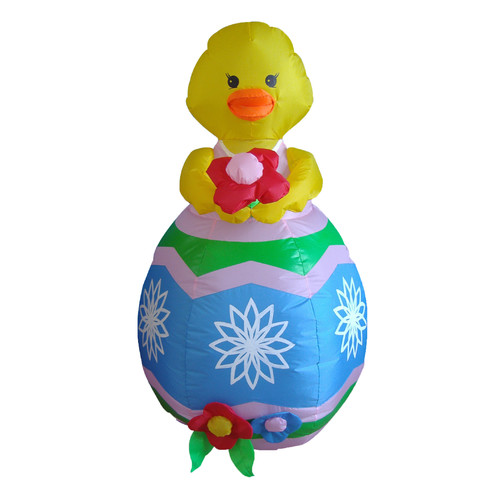 BZB Goods Easter Inflatable Chick with Flower Decoration