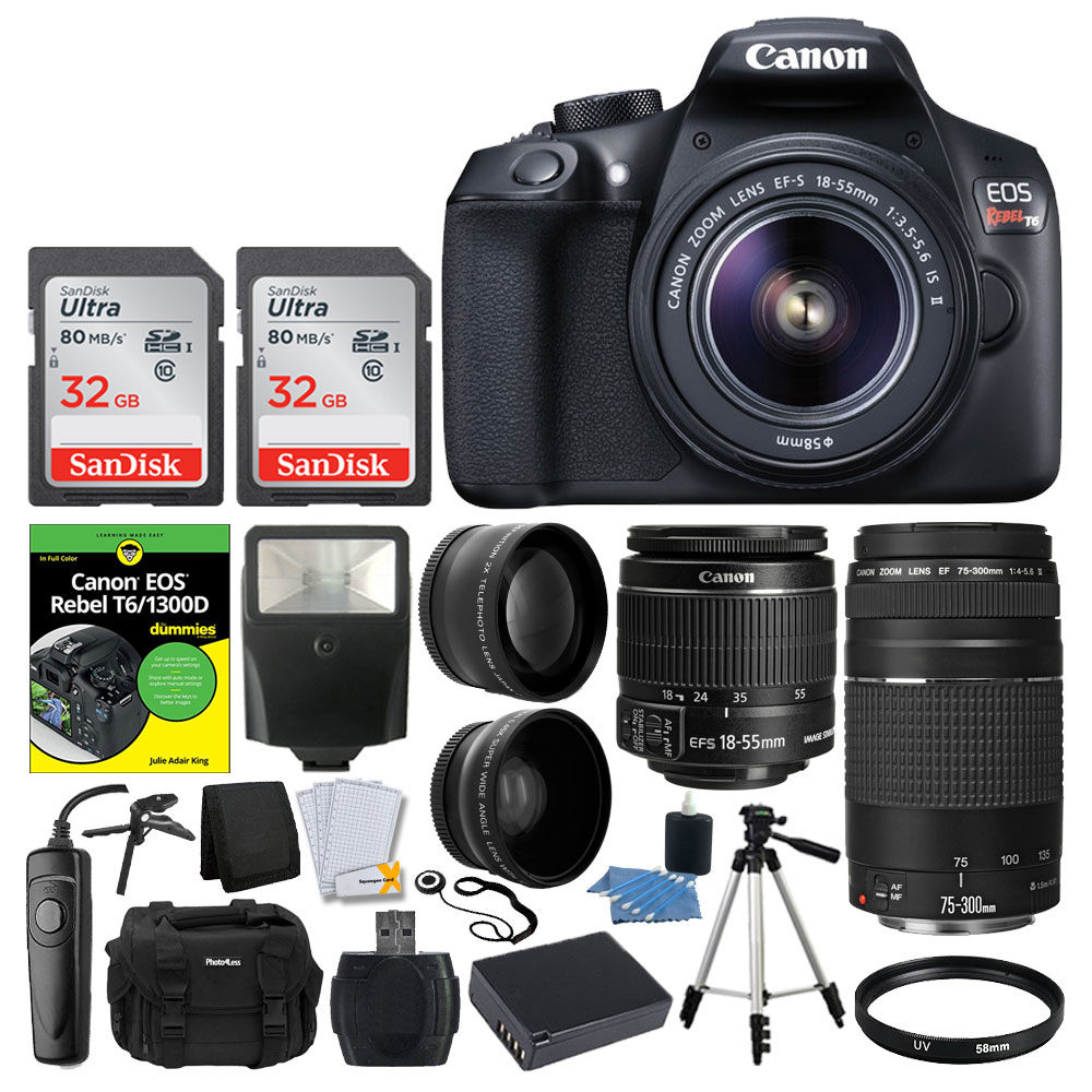 Canon EOS Rebel DSLR T6 Camera Body - Canon 18-55mm EF-S IS II Autofocus Lens - Canon Zoom EF 75-300mm III Autofocus Lens - SanDisk 64GB Card + T6/1300D for Dummies + Photo4Less Gadget Bag + Accessori