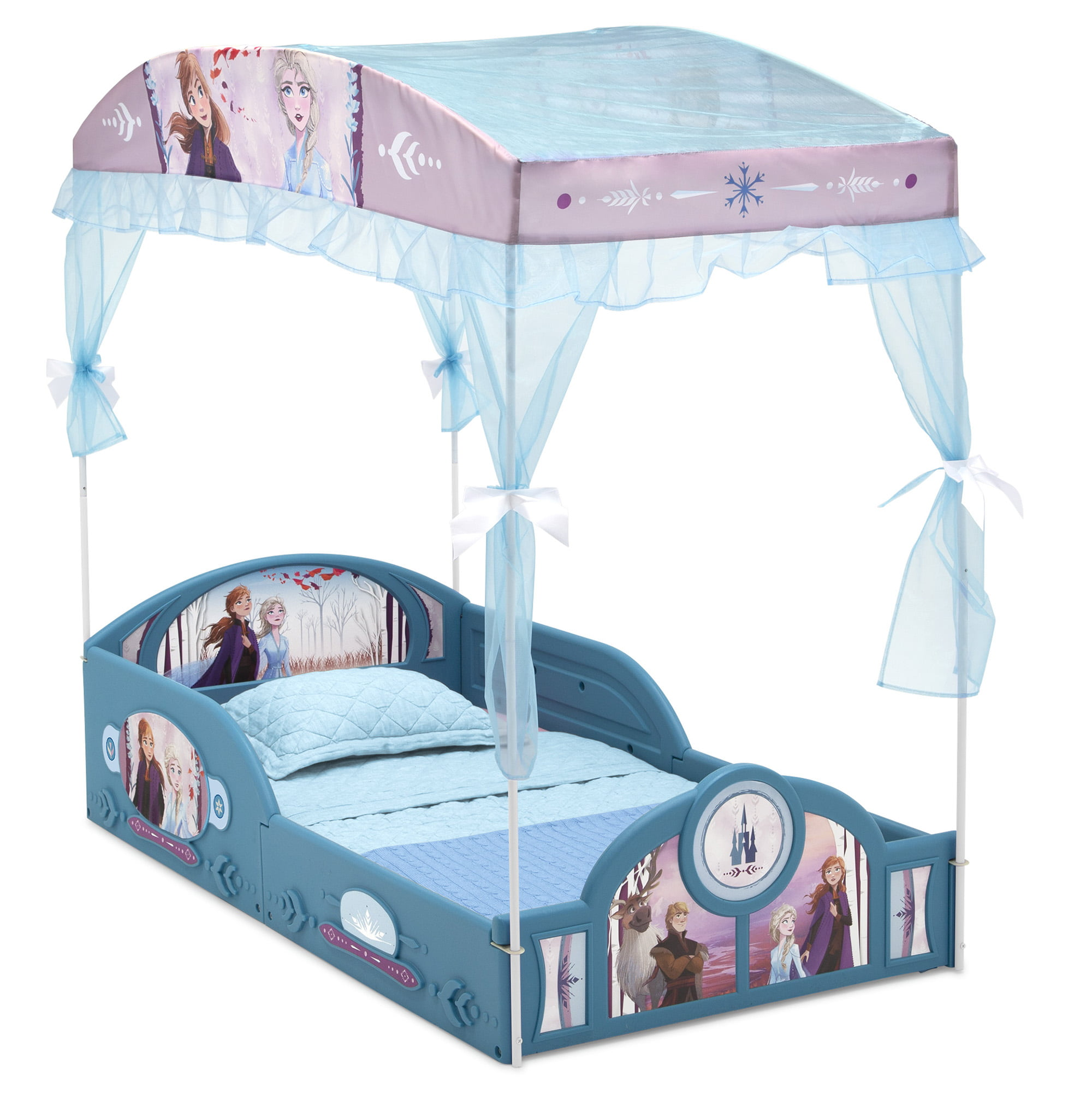 - Disney Frozen II Plastic Sleep And Play Toddler Bed With Canopy By
