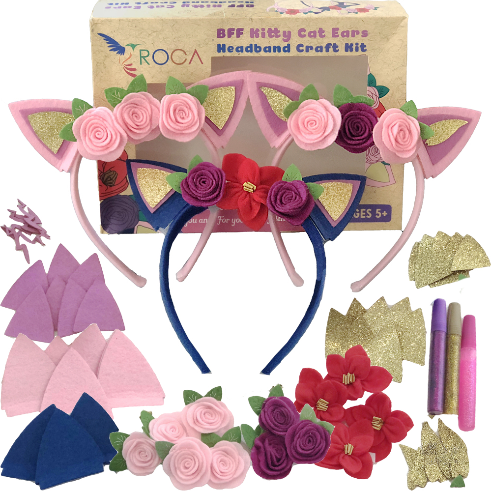 Girls Gift Headbands Arts and Crafts. Cat Ears Headbands Crafts by ROCA Toys. Valentines Girls Arts and Crafts 61 Pieces