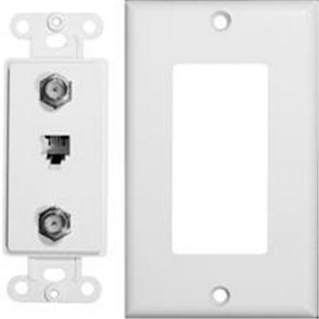 Decorator Double Coax Single Phone Jack 2 Piece - Double Flare White Plugs