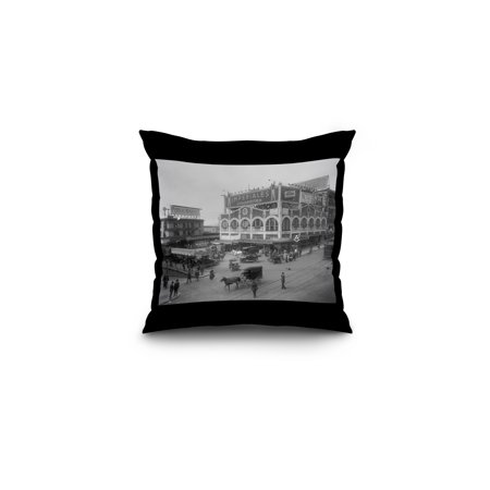 Seattle  Washington   Pike Place Market   Vintage Photograph  16X16 Spun Polyester Pillow  Black Border