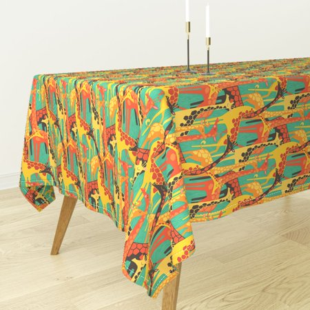 Tablecloth Giraffe Abstract Safari Giraffe Colorful Animal Print Cotton Sateen