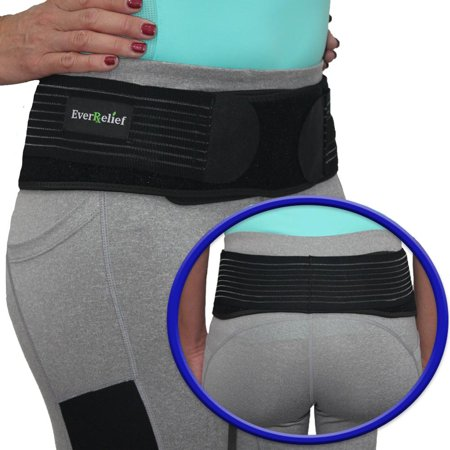 EverRelief SI Belt Hip Brace Large - Sacroiliac Joint Support for Men & Women-Fully Adjustable Sciatica Brace Relieves Back, Pelvic & Hip Pain