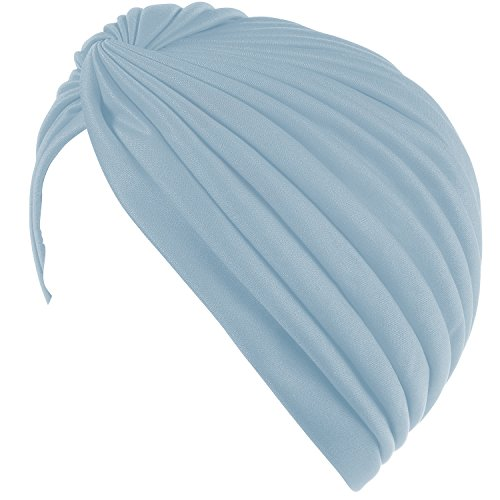 Twisted Pleated Stretchable Polyester Women's Swim Bathing Turban Head Cover / Sun Cap - Light Blue