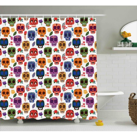 Day Of The Dead Shower Curtain African Tribal Artwork Wooden Scary Mask With Cartoon Funny Details Print Fabric Bathroom Set Hooks Multicolor