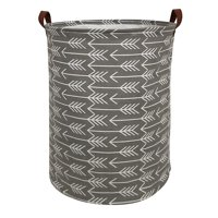 """HIYAGON Large Storage Baskets, 19.7""""H x 15.7""""D Waterproof Gray Laundry Baskets, Collapsible Canvas Basket for Storage Bin for Kids Room, Toy Organizer, Home Decor, Baby Hamper( Round - Grey Arrows )"""