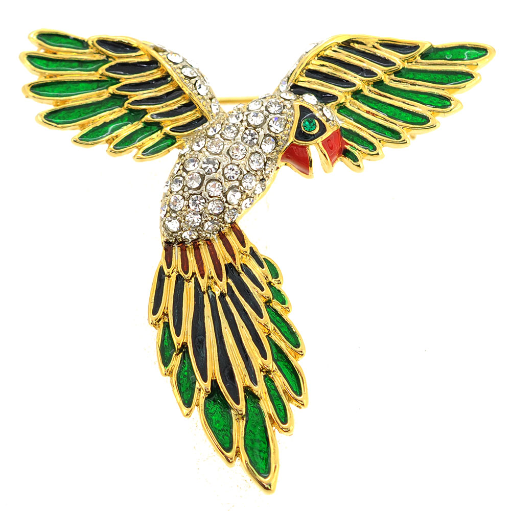 Green Parrot Pin Brooch by