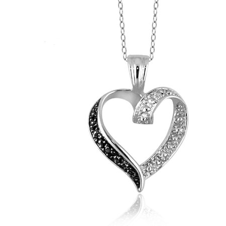 Jewelersclub black diamond accent sterling silver open heart jewelersclub black diamond accent sterling silver open heart pendant mozeypictures Gallery