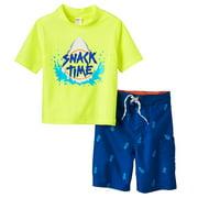 OshKosh Shark Rash Guard Set Boys Swimsuits Yellow 12M